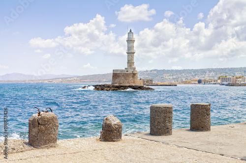 Deurstickers Canarische Eilanden Lighthouse on the island of Crete Greece