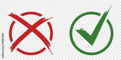 Obraz Acceptance and rejection symbol vector buttons for vote, election choice. Circle brush stroke borders. Symbolic OK and X icon isolated on white.Tick and cross signs, checkmarks design. - fototapety do salonu