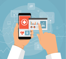 Hand And Smartphone Doctor With The Internet For The Design Concept, Medical New Technology Of The Future, Online Registration At The Hospital