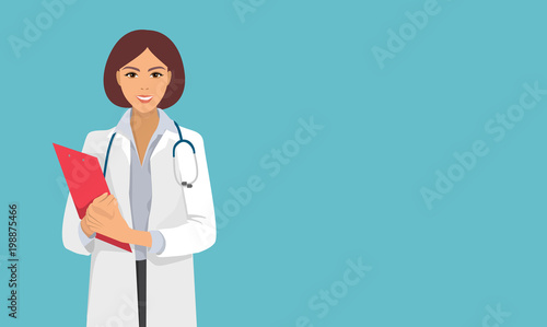 Fototapeta nurse, doctor from hospital, therapist, medical staff, woman, isolated vector character obraz
