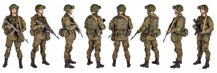 russian special forces soldier with rifle on dark background. army, military and people concept