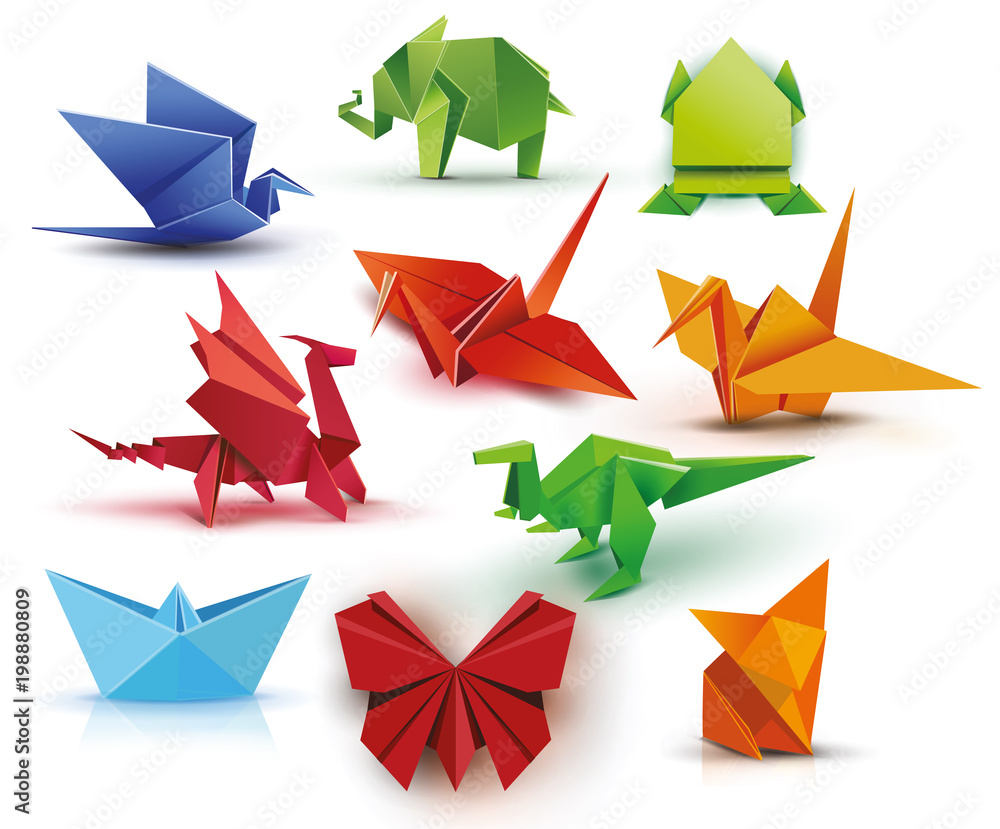 Fototapeta Origami. A set of origami. Set origami butterfly, crane, frog, elephant, dragon, ship, dinosaur, fox. Paper set origami. Vector illustration Eps10 file