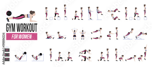 Foto  Set of sport exercises