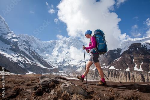 Fototapeta Trekker on the way to Annapurna base camp, Nepal obraz