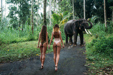Two Young Womans Turn Back To ...