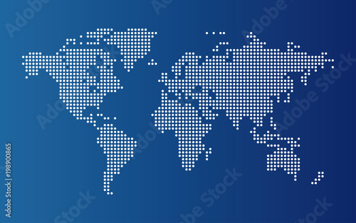 Foto op Plexiglas Wereldkaart Dotted world map. Continents of the World map with dots on blue background.