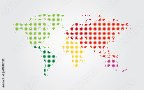 Staande foto Wereldkaart Dotted world map. Continents of the World map with colorful dots.