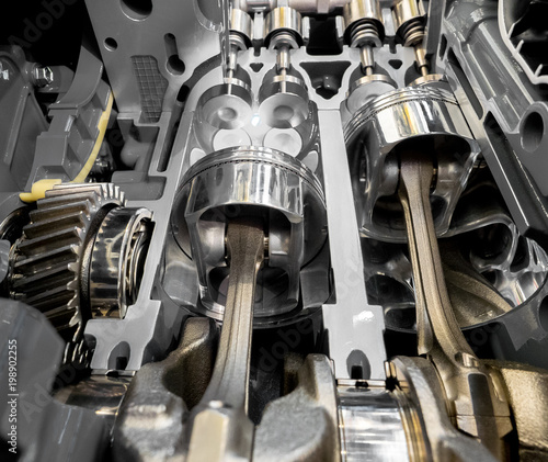 Inside view of 4 stroke engine cylinders, pistons and valves Canvas-taulu