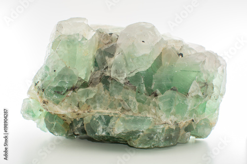 Green gemstone natural mineral fluoride or green beryl isolated Wallpaper Mural