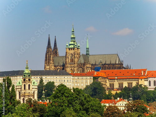 Fotografie, Obraz  Cityscape with The Prague Castle and The Saint Vitus Cathedral in Prague, Czech