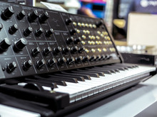 Vintage Analig Synthesizer With Piano Keys Close Up