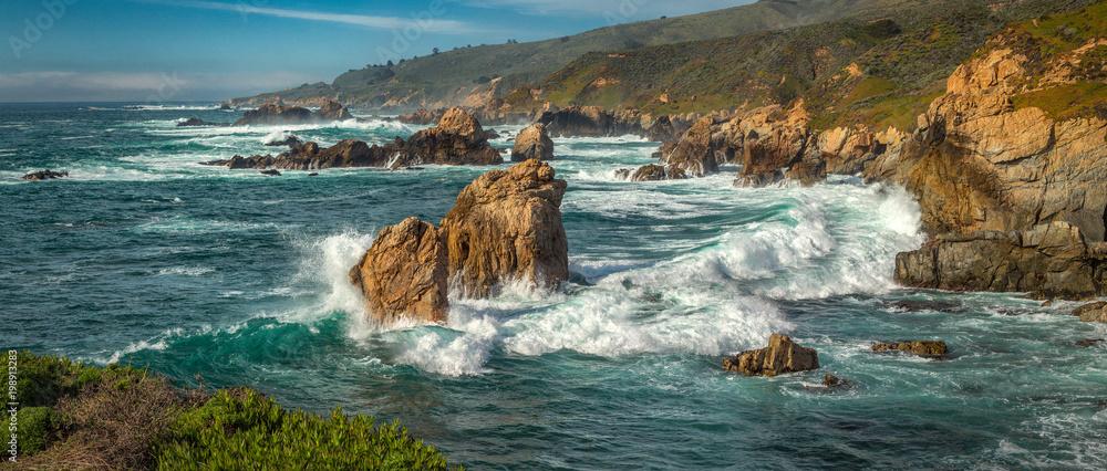 Fototapeta A panoramic view of the Big Sur coastline along California.