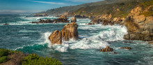 A Panoramic View Of The Big Sur Coastline Along California.
