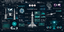 Space Set In HUD UI Style. Head Up Display. Space Launch Rockets. Technology Elements ( Dashboard, Spaceship, Antenna, Space Satellite, 3D Rockets) Elements Pack Of The Sky-fi UI, 3d Elements HUD