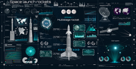 Fototapeta Space set in HUD UI style. Head Up Display. Space launch rockets. Technology elements ( dashboard, spaceship, antenna, space satellite, 3D rockets) Elements pack of the Sky-fi UI, 3d elements HUD