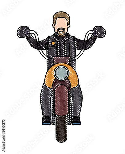biker in the classic motorcycle character Canvas-taulu