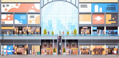 Fotografía  Modern Shopping Mall Interior With Many People Big Retail Store Flat Vector Illu