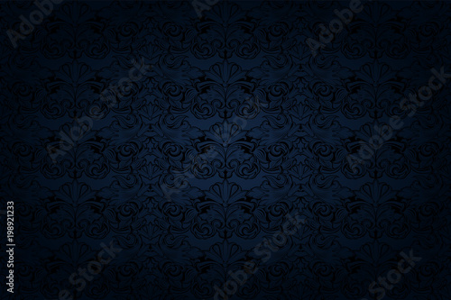 Fotomural  vintage Gothic background in dark blue and black with a classic Baroque pattern,