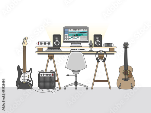 Workspace of an audio engineer or a music producer Canvas Print