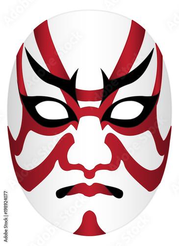 Japan kabuki mask on a white background Wallpaper Mural