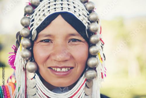 smile face close up young woman Hill tribe. Tapéta, Fotótapéta