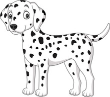 Cartoon Cute Dalmatian Dog Iso...