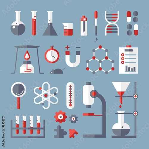 Scientific laboratory icons. vector flat design illustration set