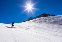Ski In Chile On A Sunny Day With Lots Of Snow.