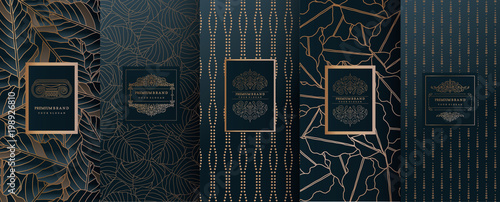 Obraz Collection of design elements,labels,icon,frames, for packaging,design of luxury products.for perfume,soap,wine, lotion.Made with golden foil.Isolated on geometric background.vector illustration - fototapety do salonu