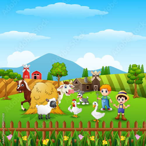 Poster Castle Cartoon little farmers with animals at the farm