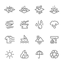 Cell Foam, Fabric Technology Properties Icons, Vector Lines Web Icon Set.