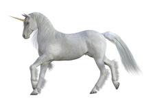White Magical Unicorn Isolated On White, 3d Render