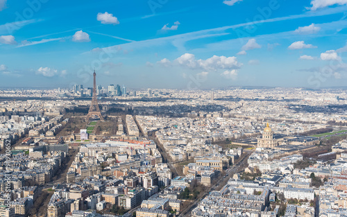 Poster Parijs Paris, panorama of the Eiffel tower and the Invalides
