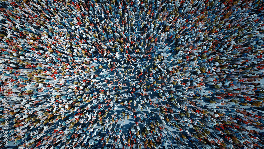 Fototapety, obrazy: crowd of people viewed from above