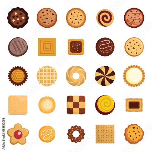Fotografiet Cookies biscuit icons set