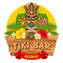 Wooden Tiki Mask And Signboard...