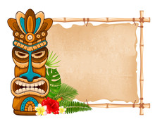 Wooden Tiki Mask And Bamboo Si...
