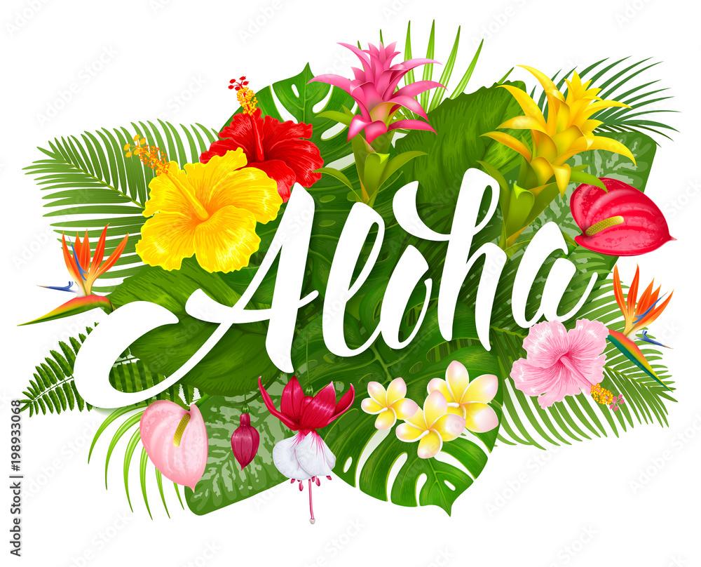 Fototapeta Aloha Hawaii lettering and tropical plants