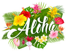 Aloha Hawaii Lettering And Tro...