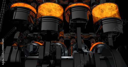 Canvas Print CG model of a working V8 engine with explosions