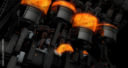 CG model of a working V8 engine with explosions and sparks Fototapeta