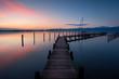 Bootssteg am Chiemsee bei Sonnenaufgang