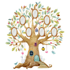 Fototapeta Do przedszkola Watercolor tree house with frames