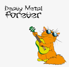 Heavy Metal Forever Cat In Heavy Metal Vector. Illustration Of Cat Playing Music In Rock Music.  A Cute Red Cat Plays Heavy Music.