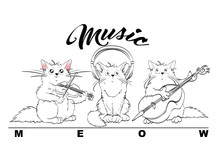 Music. Vector Set Of Cute Spri...