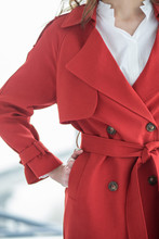 Red  Trench For Woman
