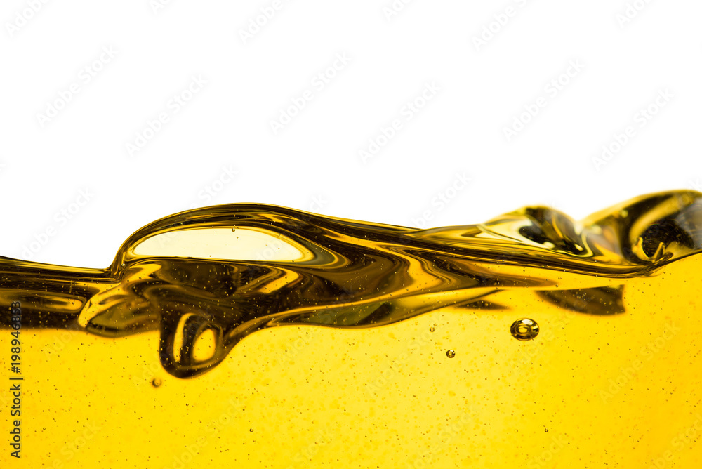 Fototapety, obrazy: Pouring oil car motor or olive vegetable cooking and bubble isolated on white background