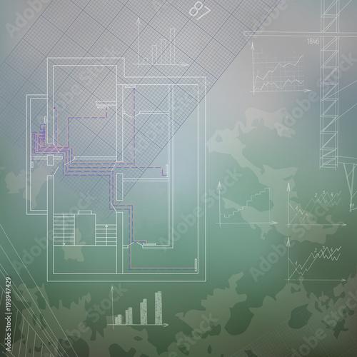 Heating system blueprint vector illustration. Heater technology ...