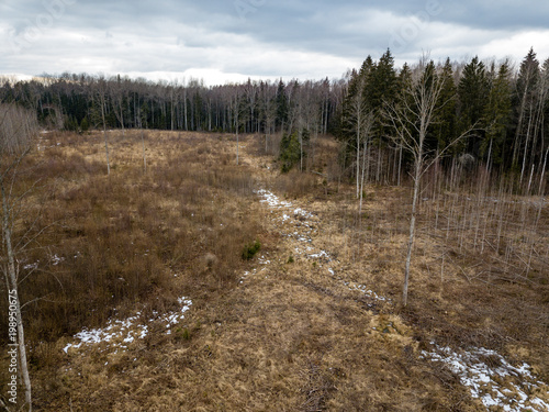 Cadres-photo bureau La Mer du Nord drone image. aerial view of rural area with fields and forests