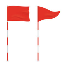 Red Golf Flags Isolated On Bac...